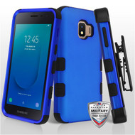 Military Grade Certified TUFF Hybrid Armor Case with Holster for Samsung Galaxy J2 - Blue