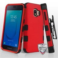 Military Grade Certified TUFF Hybrid Armor Case with Holster for Samsung Galaxy J2 - Red