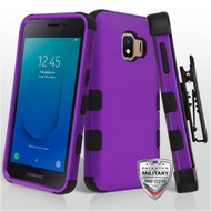 Military Grade Certified TUFF Hybrid Armor Case with Holster for Samsung Galaxy J2 - Purple