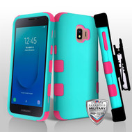 Military Grade Certified TUFF Hybrid Armor Case with Holster for Samsung Galaxy J2 - Teal Green Electric Pink