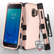 Military Grade Certified TUFF Hybrid Armor Case with Holster for Samsung Galaxy J2 - Rose Gold