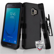 Military Grade Certified TUFF Hybrid Armor Case with Holster for Samsung Galaxy J2 - Black 251