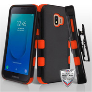 Military Grade Certified TUFF Hybrid Armor Case with Holster for Samsung Galaxy J2 - Black Red