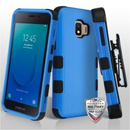 Military Grade Certified TUFF Hybrid Armor Case with Holster for Samsung Galaxy J2 - Blue 255