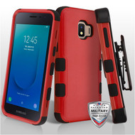 Military Grade Certified TUFF Hybrid Armor Case with Holster for Samsung Galaxy J2 - Red 256