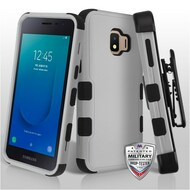Military Grade Certified TUFF Hybrid Armor Case with Holster for Samsung Galaxy J2 - Grey