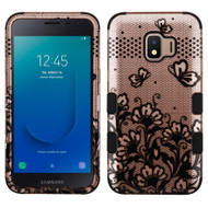 Military Grade Certified TUFF Hybrid Armor Case for Samsung Galaxy J2 - Lace Flower Rose Gold