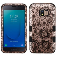Military Grade Certified TUFF Hybrid Armor Case for Samsung Galaxy J2 - Four Leaves Clover Rose Gold