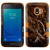 Military Grade Certified TUFF Hybrid Armor Case for Samsung Galaxy J2 - Tree Camouflage Orange