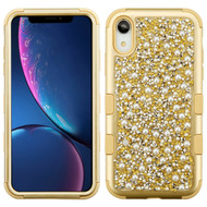 Military Grade Certified TUFF Hybrid Armor Case for iPhone XR - Pearls Gold