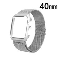 2-IN-1 Aluminum Bumper Case and Magnetic Stainless Steel Mesh Watch Band for Apple Watch 40mm Series 4 - Silver