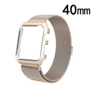 2-IN-1 Aluminum Bumper Case and Magnetic Stainless Steel Mesh Watch Band for Apple Watch 40mm Series 4 - Gold
