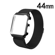 2-IN-1 Aluminum Bumper Case and Magnetic Stainless Steel Mesh Watch Band for Apple Watch 44mm Series 4 - Black