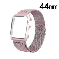 2-IN-1 Aluminum Bumper Case and Magnetic Stainless Steel Mesh Watch Band for Apple Watch 44mm Series 4 - Rose Gold