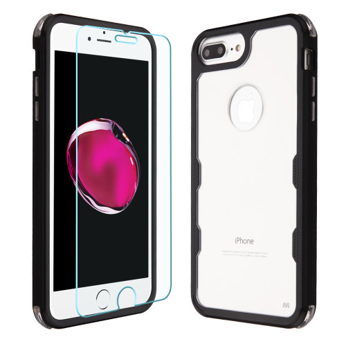 Military Grade Certified TUFF Lucid Plus Case + Tempered Glass for iPhone 8 Plus / 7 Plus / 6S Plus / 6 Plus - Black