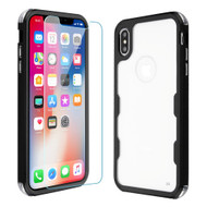 Military Grade Certified TUFF Lucid Plus Hybrid Case with Tempered Glass Screen Protector for iPhone XS / X - Black