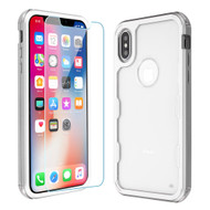 Military Grade Certified TUFF Lucid Plus Hybrid Case with Tempered Glass Screen Protector for iPhone XS / X - Silver