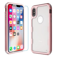 Military Grade Certified TUFF Lucid Plus Hybrid Case with Tempered Glass Screen Protector for iPhone XS / X - Rose Gold