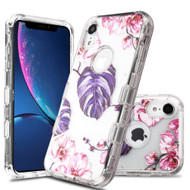Military Grade Certified TUFF Lucid Transparent Hybrid Armor Case for iPhone XR - Violet Monstera
