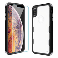 Military Grade Certified TUFF Lucid Plus Hybrid Case with Tempered Glass Screen Protector for iPhone XS Max - Black