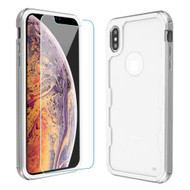 Military Grade Certified TUFF Lucid Plus Hybrid Case with Tempered Glass Screen Protector for iPhone XS Max - Silver
