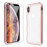 Military Grade Certified TUFF Lucid Plus Hybrid Case with Tempered Glass Screen Protector for iPhone XS Max - Rose Gold