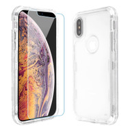 Military Grade Certified TUFF Lucid Plus Hybrid Case with Tempered Glass Screen Protector for iPhone XS Max - Clear