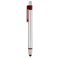 Classic Uni-Tip Capacitive Touch Screen Stylus with Retractable Ballpoint Pen - Silver Red