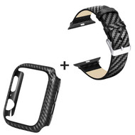 Carbon Fiber Design Genuine Leather Watch Band with Bumper Case Combo Set for Apple Watch 44mm Series 4 - Black