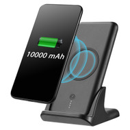 True Wireless USB Power Bank Battery 10000mAh with Built-in Qi Inductive Charger Pad and Charging Dock Stand - Black
