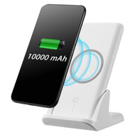 True Wireless USB Power Bank Battery 10000mAh with Built-in Qi Inductive Charger Pad and Charging Stand - White
