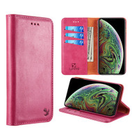 Luxury Leather Wallet with Removable Magnetic Case for iPhone XS / X - Hot Pink