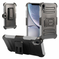 Advanced Armor Hybrid Kickstand Case with Holster and Tempered Glass Screen Protector for iPhone XR - Grey