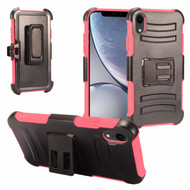 Advanced Armor Hybrid Kickstand Case with Holster and Tempered Glass Screen Protector for iPhone XR - Hot Pink