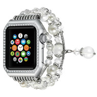 Faux Pearl Natural Agate Stone Watch Band with Integrated Aluminum Bumper Case for Apple Watch 42mm - Silver