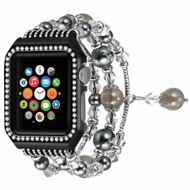 Faux Pearl Natural Agate Stone Watch Band with Integrated Aluminum Bumper Case for Apple Watch 38mm - Black