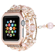 Faux Pearl Natural Agate Stone Watch Band with Integrated Aluminum Bumper Case for Apple Watch 38mm - Rose Gold