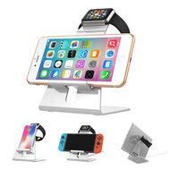 *FINAL SALE* 3-IN-1 Aluminum Docking Stand for Apple Watch, Smartphones and Tablets - Silver