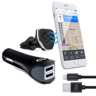 *Sale* Naztech Safety Essentials Car Kit with Air Vent Mount + Dual USB Car Charger + MFi Lightning Cable - Black