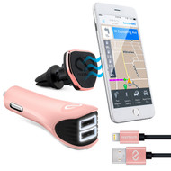 Naztech Safety Essentials Car Kit with Air Vent Mount + Dual USB Car Charger + MFi Lightning Cable - Rose Gold
