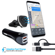Naztech Safety Essentials Car Kit with Air Vent Mount + Dual USB Car Charger + Hybrid USB-C Cable - Black