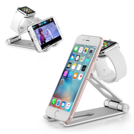 *SALE* 3-IN-1 Adjustable Aluminum Docking Stand for Apple Watch, Smartphones and Tablets - Silver