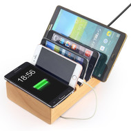 Wood 2-IN-1 6 USB Ports Power Hub Charger Station with 10W Fast Qi Wireless Charging Pad
