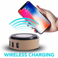 2-IN-1 4 USB Ports Power Hub Charger Station with Qi Wireless Charging Pad - Gold