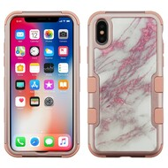 Military Grade Certified TUFF Hybrid Image Armor Case for iPhone XS / X - Marble Rose Gold