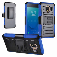 Advanced Armor Hybrid Kickstand Case with Holster and Tempered Glass Screen Protector for Samsung Galaxy J2 - Blue