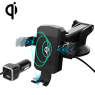 Qi Wireless 10W Fast Charging Pad Telescopic Mount Charger - Black
