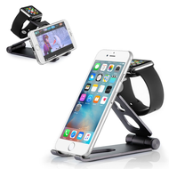 *SALE* 3-IN-1 Adjustable Aluminum Docking Stand for Apple Watch, Smartphones and Tablets - Black