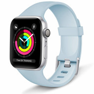 Aluminum Buckle Silicone Band Strap for Apple Watch 44mm / 42mm - Baby Blue