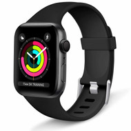 Aluminum Buckle Silicone Band Strap for Apple Watch 44mm / 42mm - Black